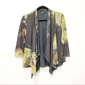 Citron Printed Open Front Knit Cardigan